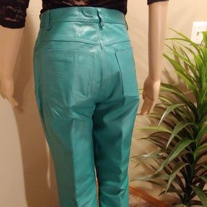 Newport News Pants - TEAL LEATHER JEANS